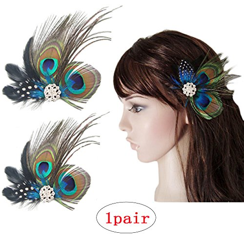 Comidox Set of 2 Butterfly Peacock Feather Hair Clip Pins with Rhinestones, Wedding Dance Party Hair Accessory, Bridesmaid Gift Peacock Accessory