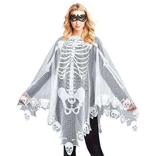 High End Halloween Costumes Toddler (Skeleton Lace Poncho for Women Skull Bones Halloween Poncho with Lace Masquerade Mask for Halloween Skeleton)
