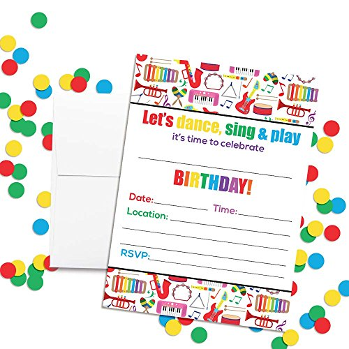 Musicalcardsforbirthdaymusical cards buying musical cards dance and play musical themed birthday party invitations 20 5x7 fill in cards with twenty white envelopes by amandacreation filmwisefo