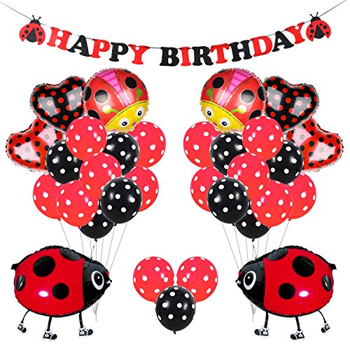 KREATWOW Ladybug Party Decorations Supplies Ladybug Balloons for Girls Birthday Party Baby Shower