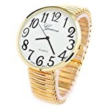 womens big dial watches - Gold Super Large Face Stretch Band Fashion Watch