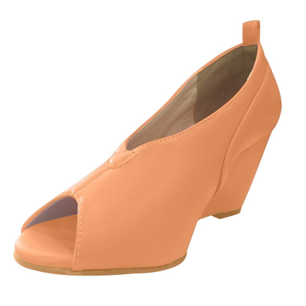 Shusuen Women's High Heel Peep Toe Wedges Sandals Brown by Shusuen_shoes