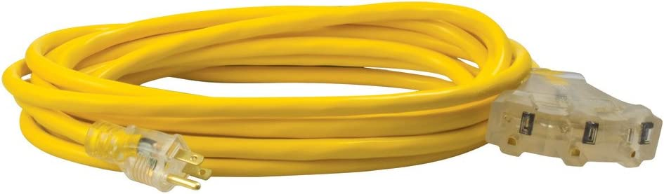 Coleman Cable 41878802 multi outlet extension cord, 25 Feet, Yellow