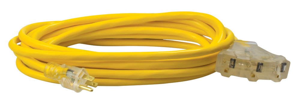 Coleman Cable 04187 12/3-Wire Gauge Multi-Outlet Vinyl Extension Cord with Lighted End, Yellow, 25-Feet