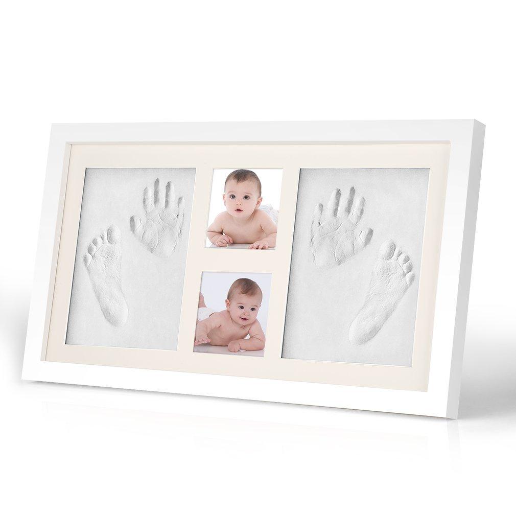 Kit de marco de huella de las mano y de los pies de bebé | el mejor regalo marco memorable del recién nacido, regalo de bebé Recuerdos memorables Decoraciones para pared de la habitación HOBFU