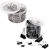 VIPITH 80PCS Binder Clips Paper Clamp Clips Jar Assorted Six Sizes Black and 450PCS Paper Clips Organizers Assorted Two Sizes Silver For Office, Home, School, Kitchen and Hotel Usage