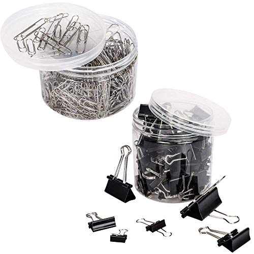 VIPITH 80PCS Binder Clips Paper Clamp Clips Jar Assorted Six Sizes Black and 450PCS Paper Clips Organizers Assorted Two Sizes Silver For Office, Home, School, Kitchen and Hotel Usage by VIPITH