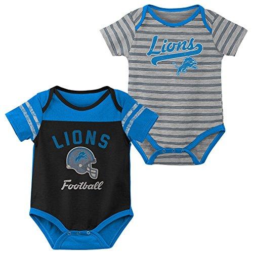 (NFL by Outerstuff NFL Detroit Lions Newborn & Infant Dual-Action 2 Piece Bodysuit Set Black, 6-9 Months)