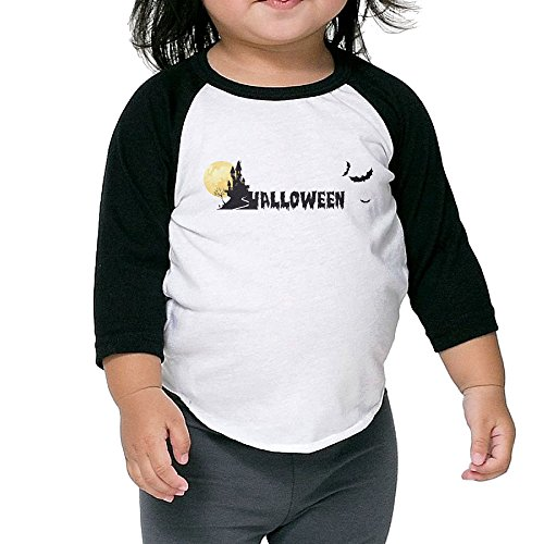 Personalized Designer Graphic Halloween Girls Raglan T-shirt 3/4 Sleeves Crew Neck Cotton Soft And Cozy Black Size 2 (Little Einsteins Halloween)