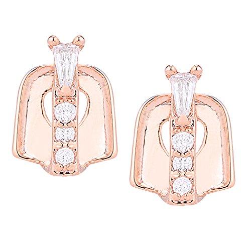Homyl Luxury 18k Gold Plated Hip Hop Rhinestone Bar Teeth Gap fit Fangs Caps Top or Bottom Grill Rapper Costume - Rose Gold 4 Crystal