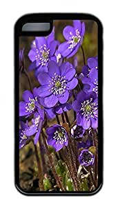 linJUN FENGThe Beautiful Purple Flower Lovely Mobile Phone Protection Shell For iphone 5/5s Cases - Unique Cool Black Soft Edge Case
