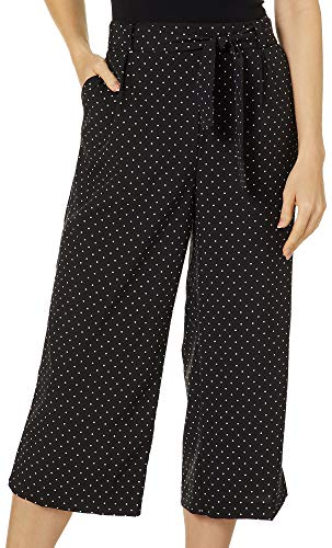 Counterparts Womens Belted Polka Dot Wide Leg Capris Medium Black/White