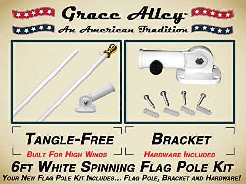 - Grace Alley Flag Pole Kit: Outdoor Flag Pole Kit Includes Tangle Free Spinning Flagpole and Flagpole Bracket White