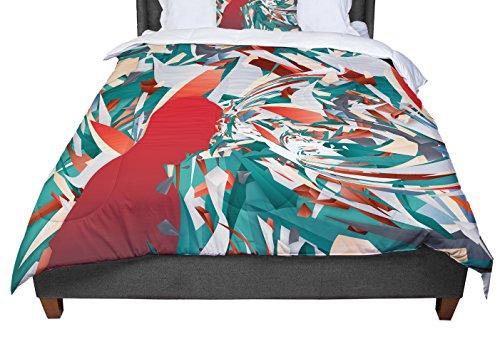 KESS InHouse Danny Ivan ''Soccer Headshot'' Teal Red Twin Comforter, 68'' X 88'' by Kess InHouse