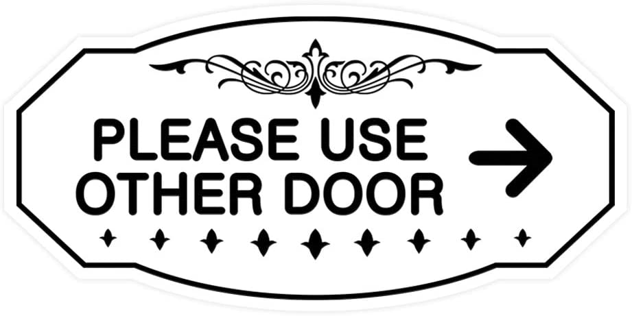 Signs ByLITA Victorian Please Use Other Door Right Arrow Sign Black//Gold Small