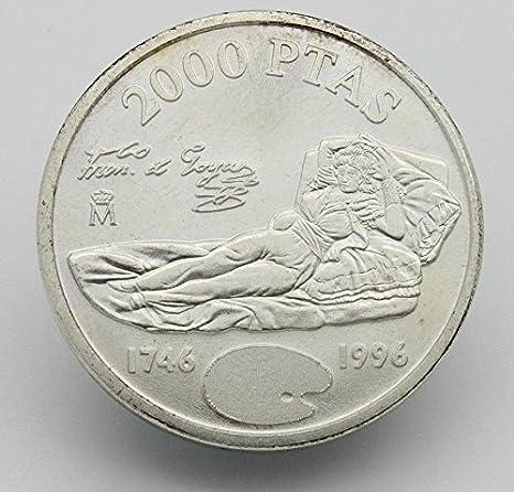Desconocido Moneda de Plata de 2000 Pesetas deLa Maja Vestida de Francisco Goya del Año 1996: Amazon.es: Juguetes y juegos
