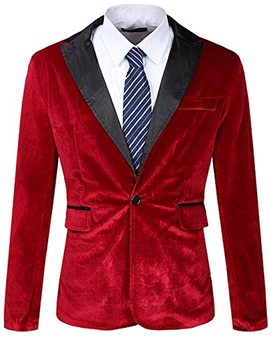 JASSYOY Mens Modern Fit Casual Velvet One Button Blazer Jacket Wine Red US XL