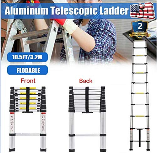 3.2 m (10.5 ft) Foldable Aluminum Straight Ladders Heavy Duty Adjustable Extension Telescopic Ladders Multi-Function Indoor and Outdoor Used 330LB Capacity for Loft/DIY/Garden/Decoraction