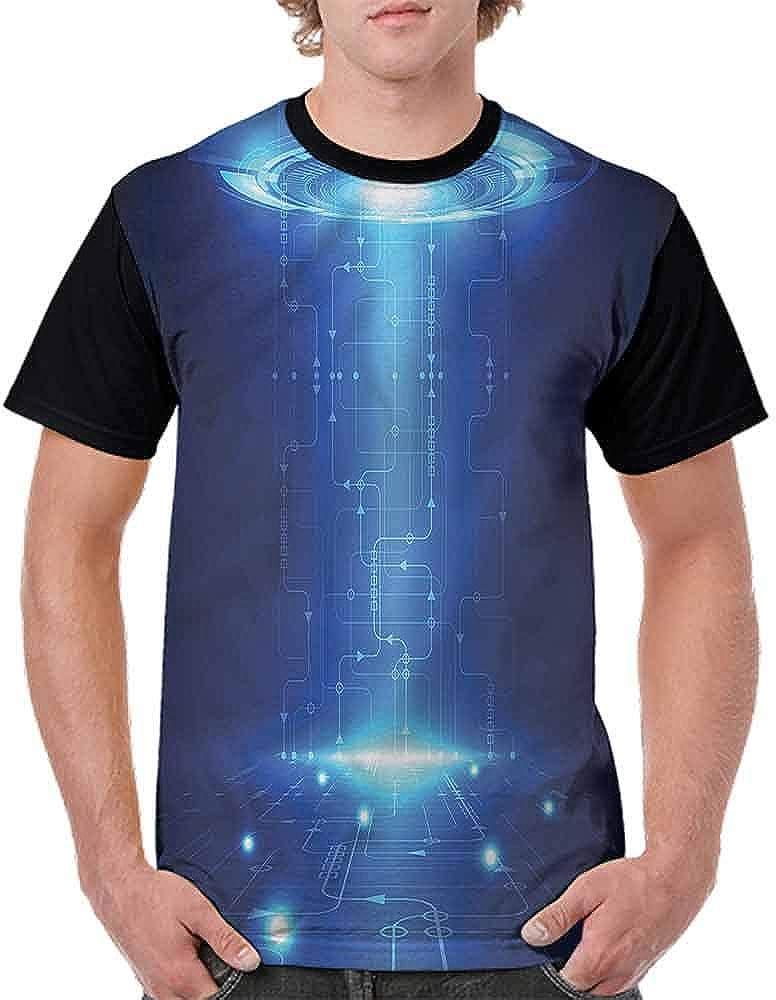 BlountDecor Round Neck T-Shirt,Comet and Blue Marble Fashion Personality Customization