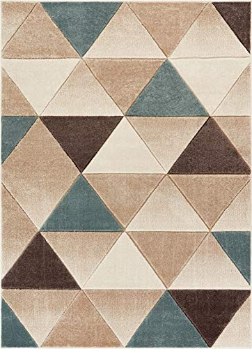 Well Woven Suave Angles Brown Blue Modern Geometric Triangles Hand Carved 5x7 (5'3