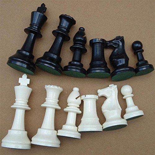 Vobor Piezas de ajedrez – Juego de Tablero de ajedrez de plástico Blanco y Negro Juego de Tablero de ajedrez(77MM)