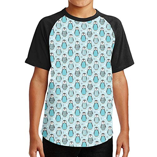 FDRT48FGEDC Penguins with Sweater Geometric Logo Short Sleeve Clothing Classic Crew Neck Tee for Teenagers Juniors Clothing Tops Short Sleeve T-Shirt Clothes for Teenage Black