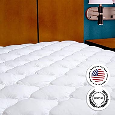 Mattress Pad with Fitted Skirt - Extra Plush Mattress Topper Found in Five Star Hotels, Queen