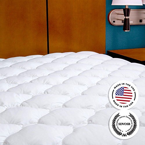 Mattress Pad with Fitted Skirt - Extra Plush Mattress Topper Found in Five Star Hotels, King