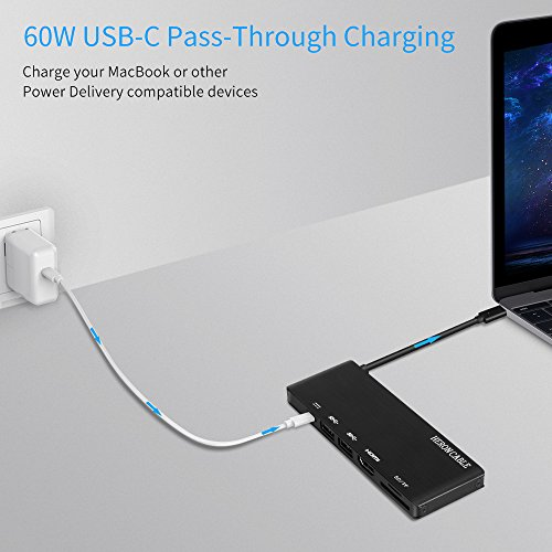 USB C Hub, Heron Cable USB-C 3.1 (Thunderbolt 3) Multiport Aluminum Adapter with Type C 60W Power Delivery, HDMI 4K@30Hz, 2x USB 3.0, Card Reader for MacBook Pro and more Windows USB C Devices (Black) by HERON CABLE (Image #3)