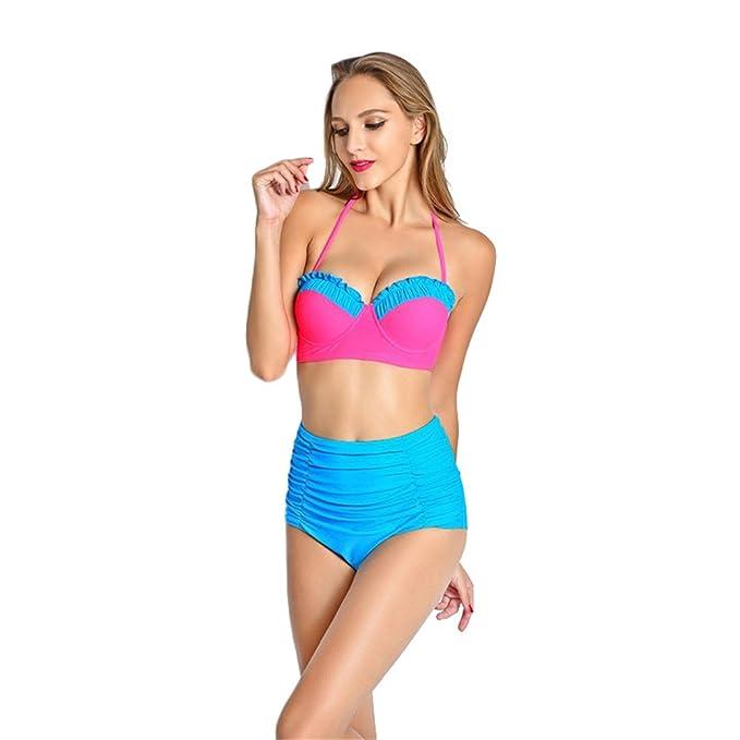 Dabag- Mujer Sling Push Up Bikini Cintura Alta Bañador de Dos Piezas Conjuntos: Amazon.es: Ropa y accesorios