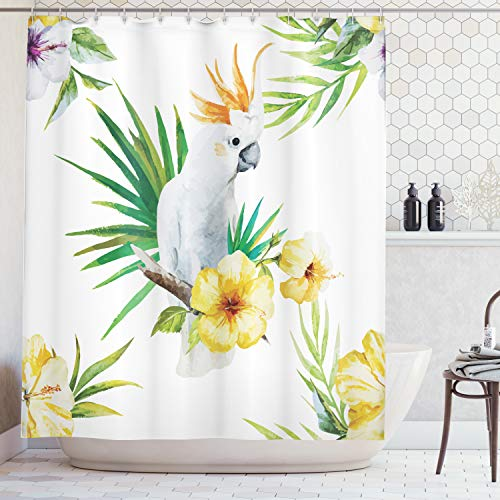 (Ambesonne Parrots Decor Shower Curtain Set, Hibiscus with Bird Intelligent Mimic Animals Creatures of Wild Regions Artwork, Bathroom Accessories, 84 inches Extralong, White Yellow Green)