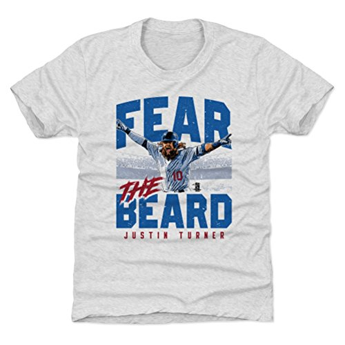 500 LEVEL Los Angeles Baseball Youth Shirt - Kids Medium (8Y) Tri Ash - Justin Turner Fear The Beard B