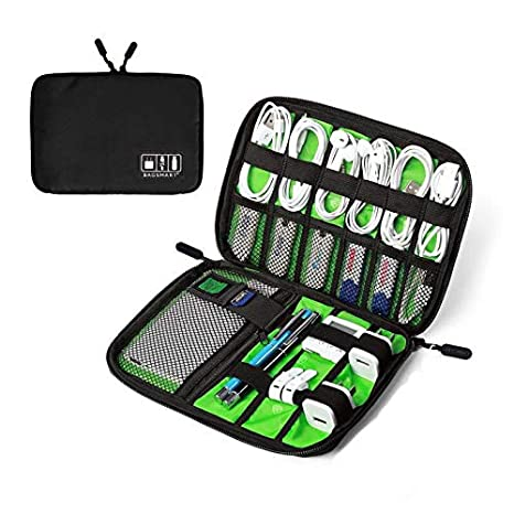 EEM Organizador de Cables de Viaje, Accesorios de electrónica portátil Estuches para Discos Duros, Cables de Carga, Cargador USB, Negro