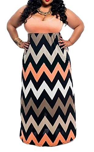 Orange Long Summer Womens Stripes Size Jaycargogo Dress Plus Chevron x48wTTnYq