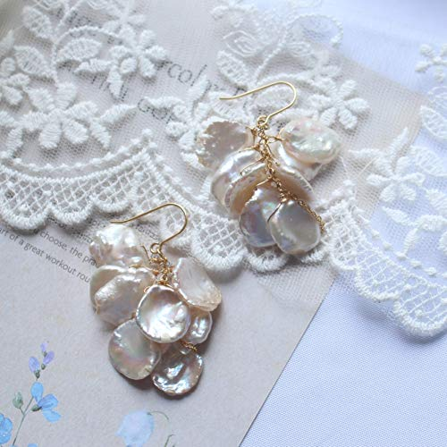 Genuine Freshwater White Keshi Pearls Cluster Earrings 14K Gold Filled Bridal Jewelry, Bridesmaid ()