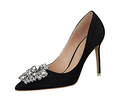 Rhinestone Stiletto High Heels Dress Shoes Women Pumps Heels PU Leather  Festival Party Wedding Pumps Heels 107f58b43456