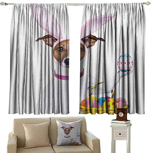 Decorative Curtains for Living Room Easter Dog Dressed up as Easter Bunny Holding a Basket of Eggs Funny Animal Illustration Blackout Draperies for Bedroom Window W63 xL72 Multicolor]()