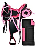 Y&Z Enterprises Synthetic Western Horse Saddle Barrel Racing Tack + Headstall, Breast Collar & Saddle Pad Size 15″ to 18″ Inch Seat Available