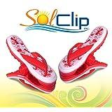 Beach Towel clips, pegs, clothespins, épingles, pinces à serviette de plage, SolClip Canada, Flip Flop Coral