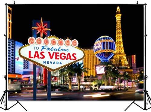 MEHOFOTO Welcome to Fabulous Las Vegas Backdrop Shiny City Scenery Background Ca