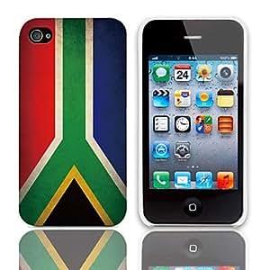 CL - Vintage La bandera de Patrón Sudáfrica estuche rígido con paquete de 3 protectores de pantalla para iPhone 4/4S