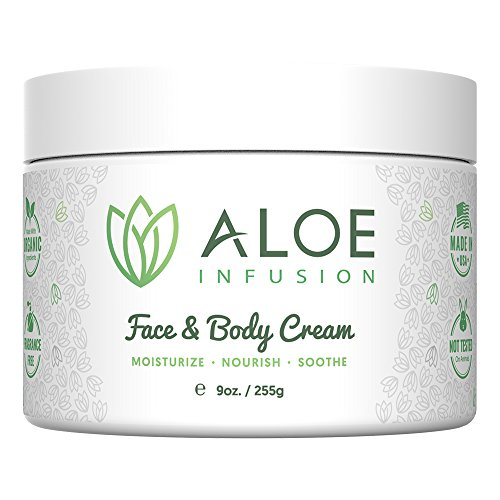 Aloe Infusion Face & Body Moisturizer Cream - Organic Aloe Vera, Shea Butter, Coenzyme Q10, Grape Seed Oil, Kukui Nut Oil - For Acne, Eczema, Psoriasis, Sensitive Skin, Dry & Itchy Skin