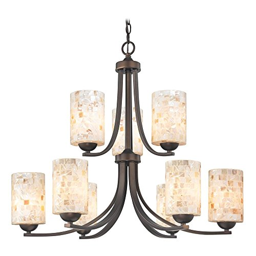 Chandelier with Mosaic Glass in Neuvelle Bronze Finish