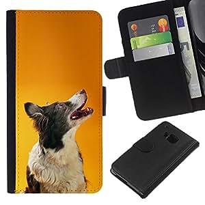 EJOY---La carpeta del tirón la caja de cuero de alta calidad de la PU Caso protector / HTC One M9 / --Border collie de Orange inteligente perro canina