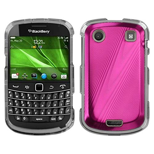 Insten Cosmo Metal Hard Snap-in Case Cover Compatible with BlackBerry Bold 9930 Bold Touch 9900/9930, Hot Pink/Clear