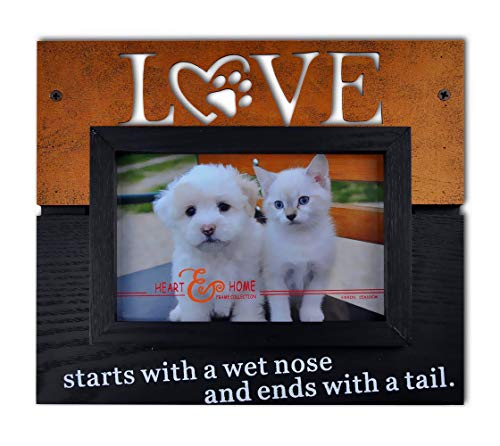 Spiretro 4 x 6 inch Memorial Pet Dog and Cat Wood Picture Frame with Easel & Plexiglass, Tabletop Display or Wall Mounting Decor, Metallic Blond Patina and Espresso Black Photo Frame -