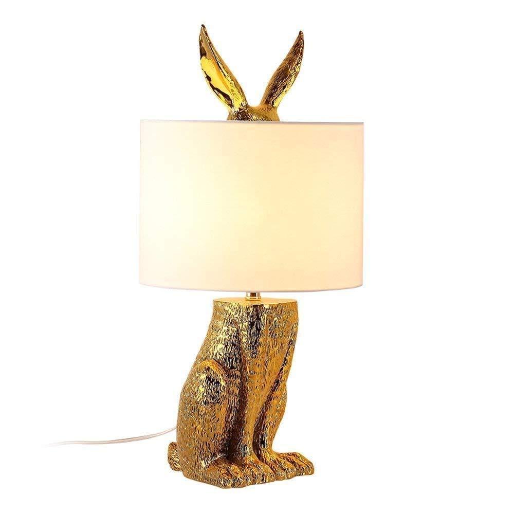 IRVING Lámpara de Mesa de Resina Dorada de Conejo para ...