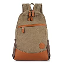 Nanxson super cool and simple design canvas school style Unisex backpack for school camping trip Laptop Multi-function Bag Multiple Colors AL5006 (khaki)