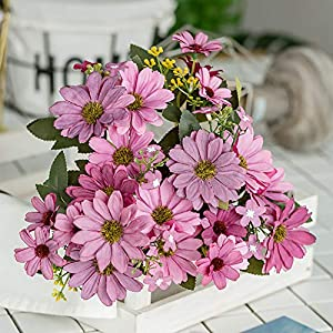 ywbtuechars Handmade Artificial Flower Fake Daisy Gerbera Artificial Flower Bud Cloth Flower Small Daisy Flower Home Living Room Table Vase Decoration Flower 1Pc 9 Branches 7