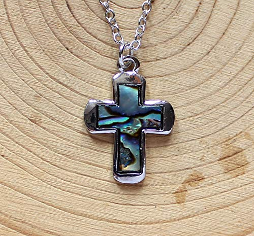 Lovely Abalone Shell Cross Charm Necklace CrossNecklace ()